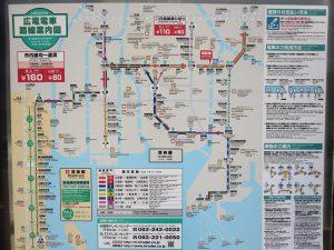 宮島への広電の路線図