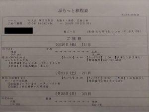 JR東海ツアーズで東京発広島行き旅程表
