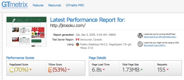 Latest Performance Report for http jirosoku com GTmetrix